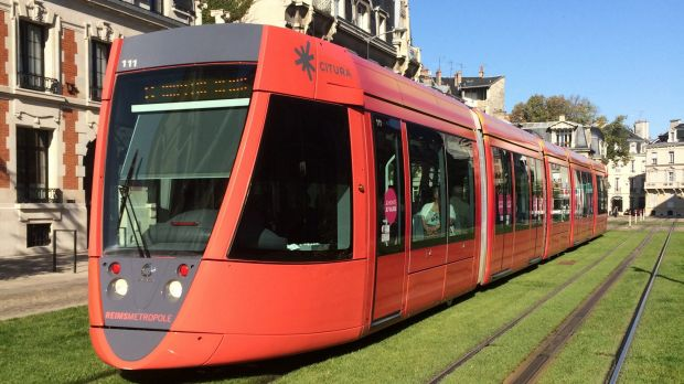 The light rail in Bordeaux, France is wire-free.