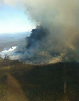Out of control: The fire north-east of Coonabarabran in January, 2013.
