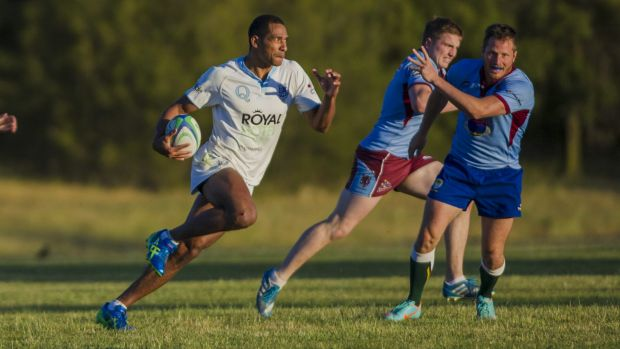 Queanbeyan's Ratu Tagive makes a break against Wests in the ACT Rugby Union club sevens competition last Friday.