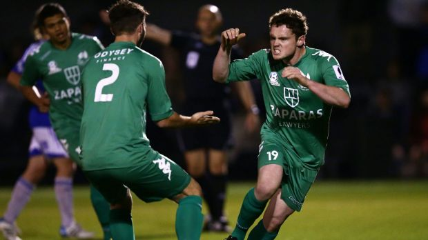 Liam McCormick (right)  of the Greens celebrates a goal against Sydney Olympic.