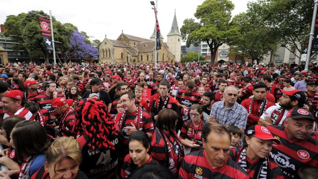 Wanderers supporters await the appearance of their AFC champions earlier this month.