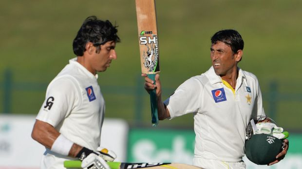 Younis Khan and Misbah-ul-Haq, both with hundreds under their belts, return to the pavilion after Pakistan declared its ...