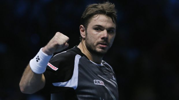 """""""I didn't expect to win that easy in the score, for sure"""": Stanislas Wawrinka celebrates after the win."""