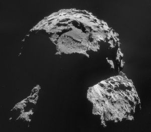 Rosetta's camera takes an image of the site where its lander, Philae, will attempt to touch down.