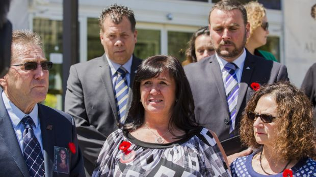 """""""It breaks my heart"""": Sharon Bell with family members and police after Aleksander Vojneski was sentenced for her ..."""