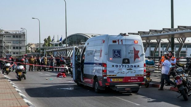 Israeli ambulance teams at the scene of the stabbing in Tel Aviv.