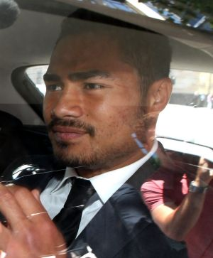 Kirisome Auva'a leaves the Melbourne Magistrates' Court last Friday.