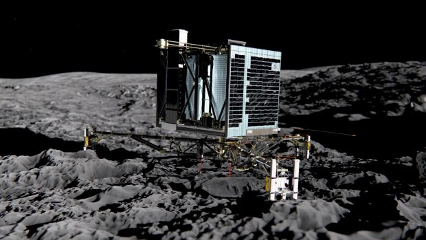 Artist's impression of Rosetta's lander Philae on the surface of comet 67P/Churyumov-Gerasimenko.