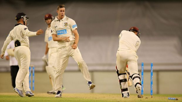 Jason Behrendorff celebrates another wicket.