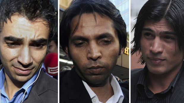 """Salman Butt, left, Mohammad Asif, centre, and Mohammad Aamer were part of a """"spot-fixing"""" betting scam."""