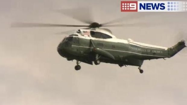 The US Marine Corp helicopter over Brisbane's CBD on Wednesday, ahead of the G20 summit.