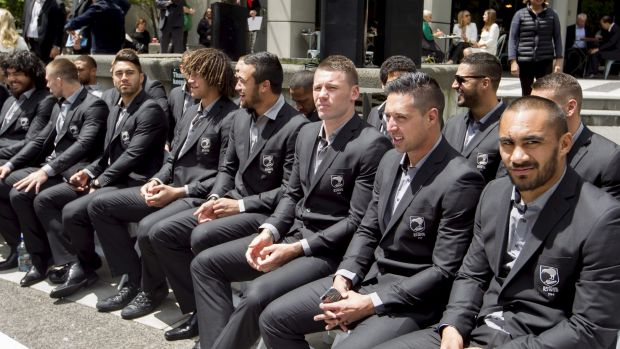 No show, bro: The New Zealand team wait for the Australians who finally arrived at the civic reception.