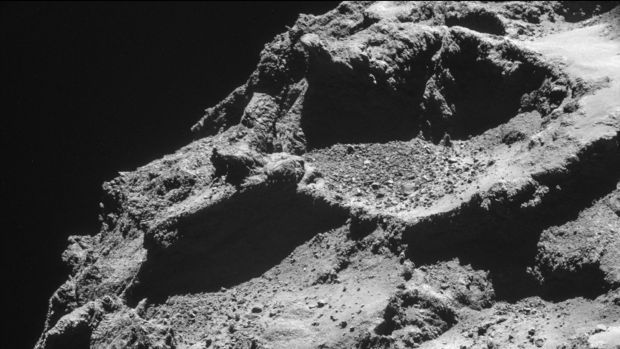 The surface of the 67P/Churyumov-Gerasimenko comet, taken from an altitude of approximately 10km by the Rosetta probe.