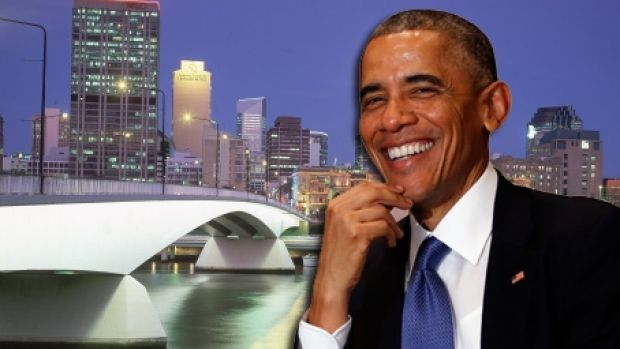President of the USA Barack Obama, featured in front of Brisbane's Victoria Bridge.