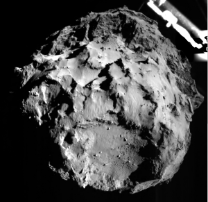 A new sight: A picture taken of the comet from the lander, as it approached the surface.