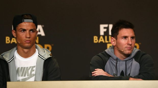 Superstars and rivals: Cristiano Ronaldo and Lionel Messi.
