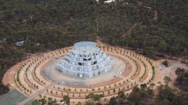 Karma country: Buddhist monument the Great Stupa of Universal Compassion, near Bendigo in Victoria, under construction ...