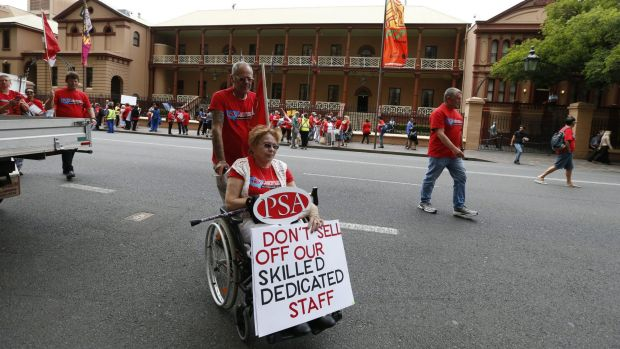 Hundreds took part in the rally outside Parliament House on Thursday to protest against the privatisation of disability ...