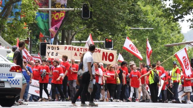 The Public Service Association staged a rally outside Parliament House in Sydney on Thursday in protest against the ...