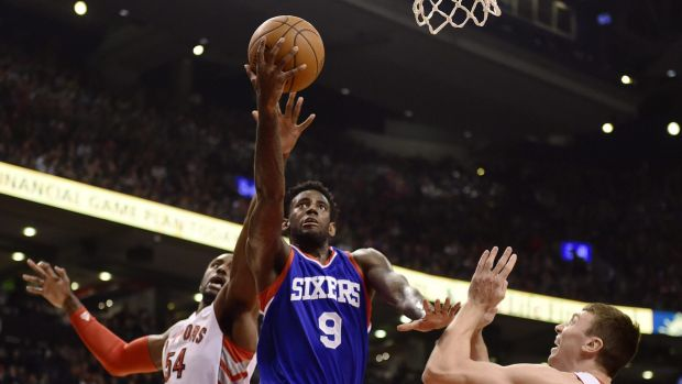 """Rebuilding roster"": Philadelphia's JaKarr Sampson drives during the loss to Houston."