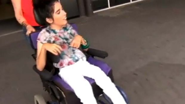 Marissa Florias in her wheelchair.