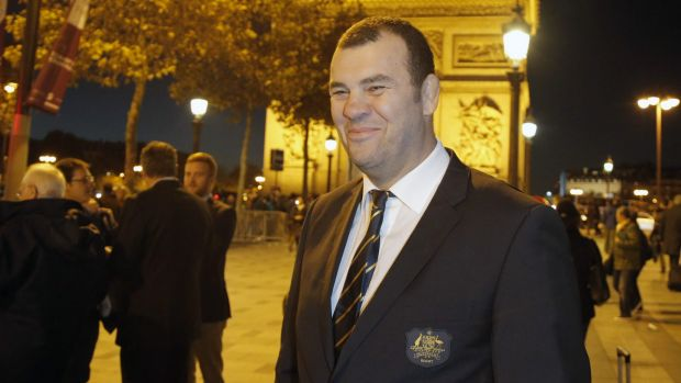 Warm welcome: Michael Cheika, pictured in front of the Arc de Triomphe this week.
