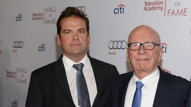 News Corp co-chairmen Lachlan Murdoch (left) and his father Rupert Murdoch (centre) with 21st Century Fox co-COO James ...