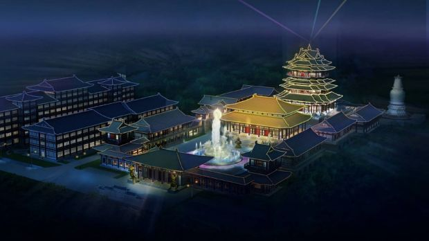 The proposed theme park at night.