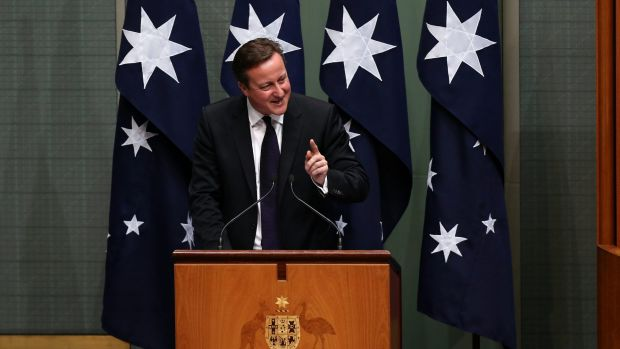 """Mr Cameron joked he feared he was in for a """"shirt-fronting"""" when he spotted Julie Bishop at a meeting in Italy last month."""