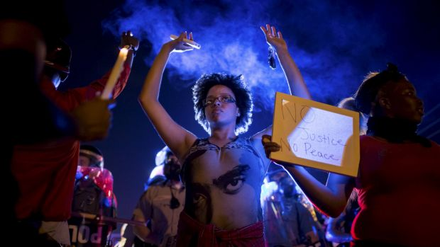 Protests in Ferguson after the death of Michael Brown.