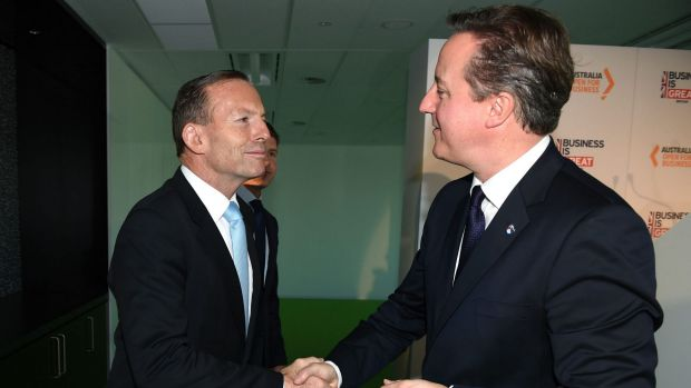 Hosting world leaders: Prime Minister Tony Abbott with British Prime Minister David Cameron at an event in Sydney on ...