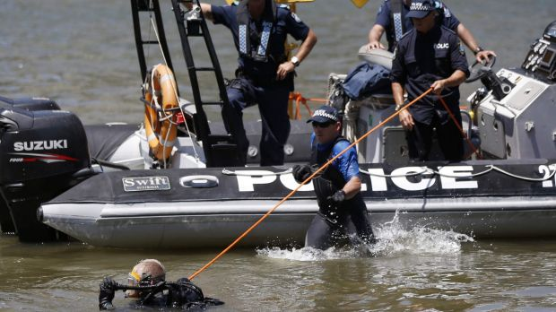 Police divers search the waters surrounding the venue of the annual G20 leaders summit in Brisbane.
