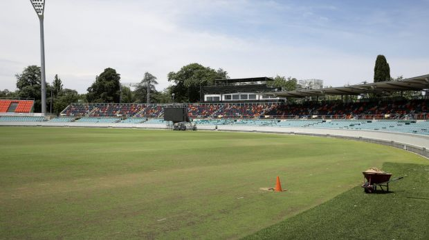 Grass in the outfield a little patchy at Manuka Oval ahead of the One Day International between Australia and South Africa.