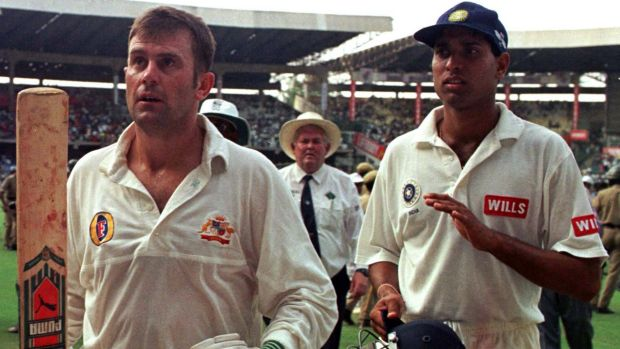 Former Australian captain Mark Taylor (left), pictured here after scoring a century in Bangalore.