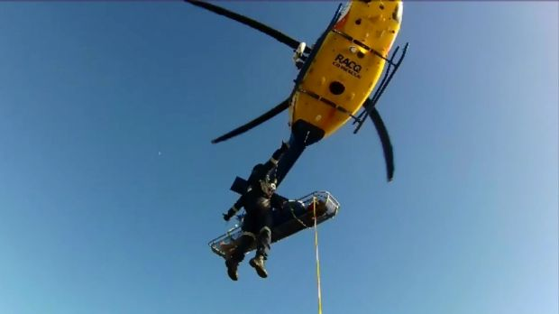 The RACQ CQ Rescue helicopter was used to winch a sick cruise liner passenger to safety.