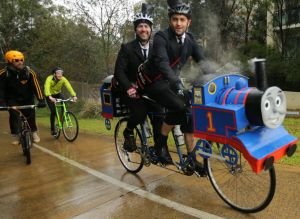 Steam power: Cyclists finish the Hell of Northcote ride in June.