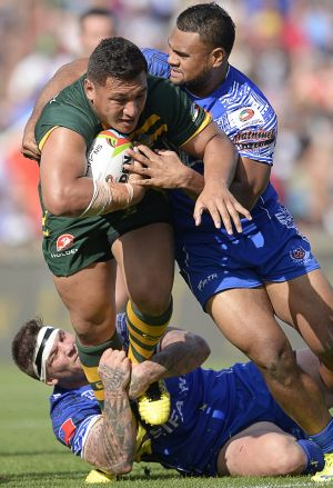 Josh Papalii has been playing prop for Australia in the Four Nations.