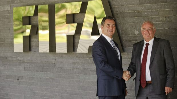 Michael J Garcia, chairman of the investigatory chamber of the FIFA Ethics Committee, and Hans-Joachim Eckert, chairman ...