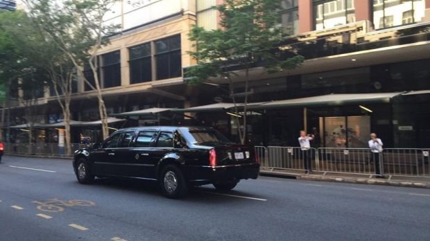The Beast travels down Adelaide Street in the Brisbane CBD, when Barack Obama was president, in 2014.