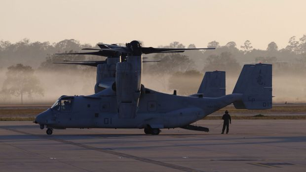An Osprey waits to transport the entourage of President of the United States Barack Obama when he arrives at RAAF Base ...