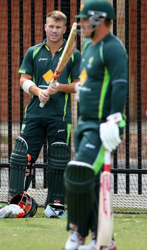David Warner and Aaron Finch at a training session in Perth.