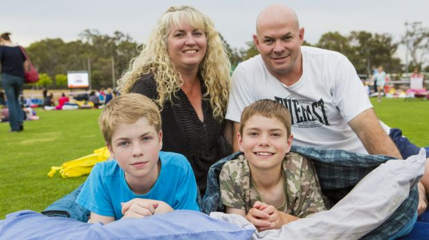 Sleeping  out: Bonython residents Tanya Taylor and Paul Skimore with their children Nathan, 13 and Jayden, 11.