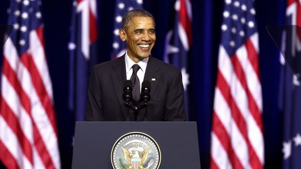 US President Barack Obama speaks at the University of Queensland.