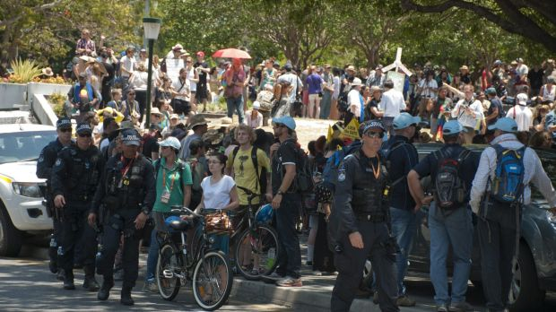 Protesters swell on the first official day of G20 in Brisbane.