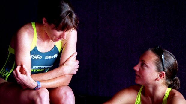 Rivals and then friends: Champion triathletes Jackie Fairweather (nee Gallagher) and Emma Carney.