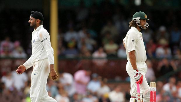 Chequered past: Harbhajan Singh and Andrew Symonds in 2008.