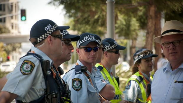 Police were out in force again on Sunday, despite predicted high temperatures and well behaved protesters on Saturday.