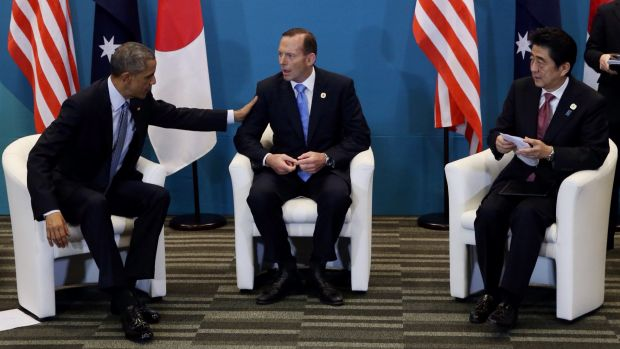PM Tony Abbott with US President Barack Obama and Japanese PM Shinzo Abe during a tri-lateral meeting at the G20 in Brisbane.