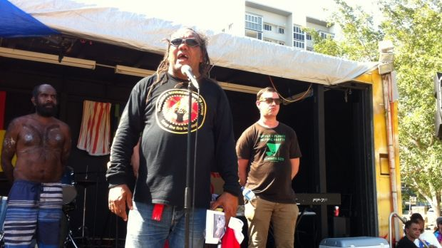 Musgrave Park Sovereign Embassy spokesman Wayne Wharton speaks after the People's March.