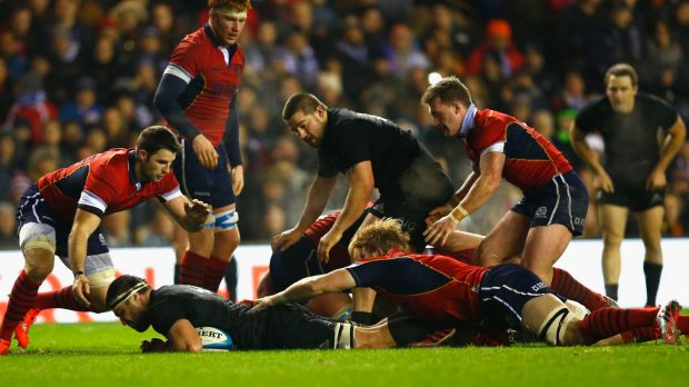 Game breaker: Jeremy Thrush of the All Blacks scores a late try.